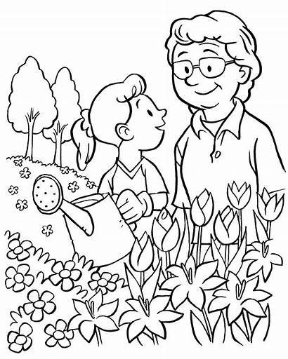 Garden Watering Flowers Drawing Line Coloring Pages