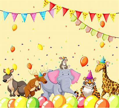 Party Animals Scene Animal Vector Graphics Clipart