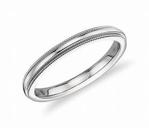 milgrain comfort fit wedding ring in platinum 25mm With comfort fit wedding rings