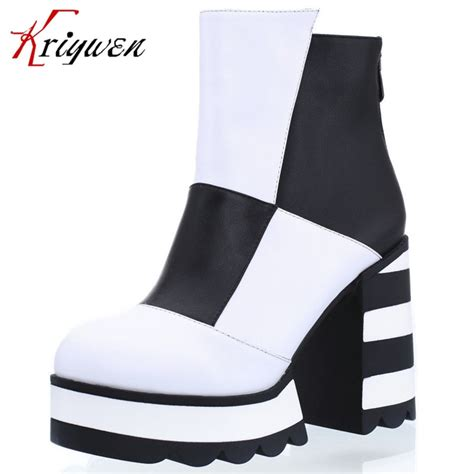 Black And White Cowhide Boots by Black And White Color Boots Cowhide Genuine Leather