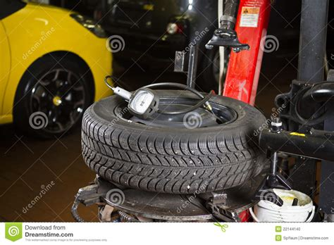 Car Tyre Pressure Stock Photo. Image Of Tyre, Shop