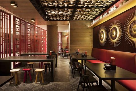 design small restaurant chinese restaurant interior design idea with touched red and fancy stools chinese design