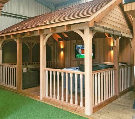 wooden gazebo  hot tub tunstall garden buildings
