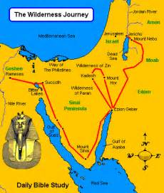 Map of Moses Journey From Egypt to Canaan