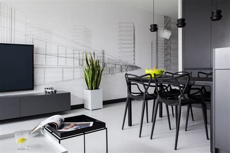 Designer Details Colorful Home by Bold Masculine Black And White Apartment Enhanced By