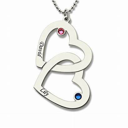 Necklace Double Heart Birthstones Giftnamenecklace Guide Ring