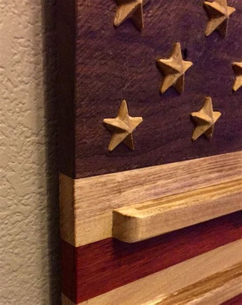 american flag exotic hardwood  coin holder  timberstar
