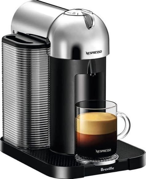 This automatic coffee and espresso machine has been produced to produce barista grade brewed single serve espresso or coffee cups on a single touch. Nespresso Vertuo Coffee and Espresso Machine by De'Longhi - Silver - OpenBox.ca