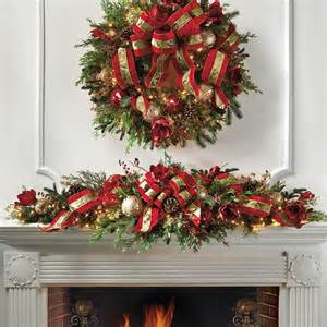 christmas joy decorated pre lit mantle swag frontgate christmas decor traditional holiday