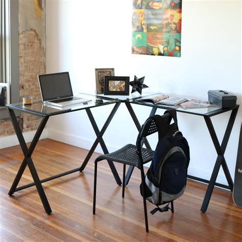 we furniture elite soreno glass corner computer desk black amazon com we furniture elite soreno glass corner