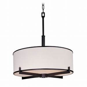 Drum pendant lighting white : Modern drum pendant light with white shade in oil rubbed