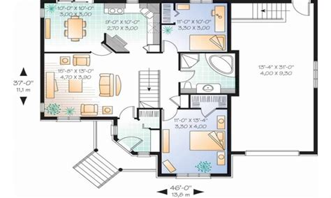 2 Bedroom Single Story House Plans Long Lots Blueprints 3