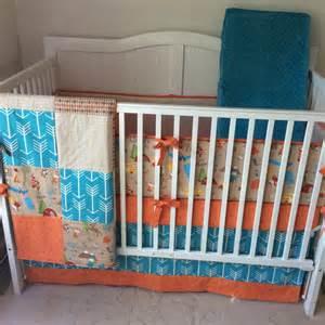 crib bedding set woodland brown orange and by