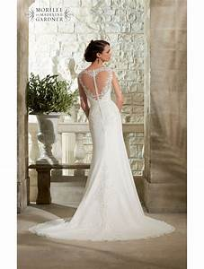 mori lee 5306 long lace sleeve ivory dress heart shaped With back detail wedding dress