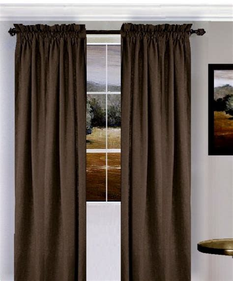 solid brown colored window long curtain