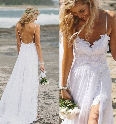 Top Selling Lace Beach Wedding Dresseslong White Wedding