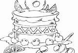 Birthday Cake Coloring Digi sketch template
