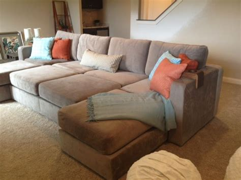Lovesac Sactionals Reviews by Another Sactional Set Up In Taupe Rhino Padded Velvet For