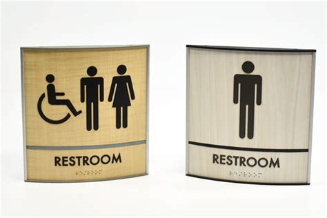 curved wood bathroom  signs curved modular sign