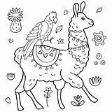 Coloring Llamas Adults Printable Lama Coloration Perroquet Mandala Loading Vecteur Jugofmilk sketch template