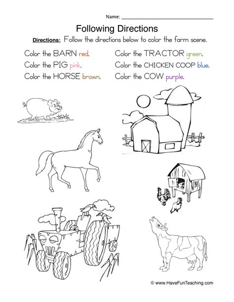 Following Directions Worksheet Coloring