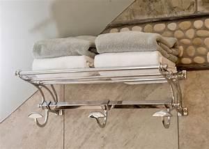 Towel Shelf With Hooks Bathroom Traditional With