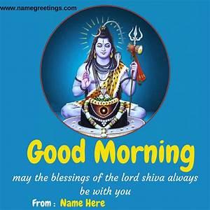 Write Name on Good Morning Lord Shiva Greeting Card