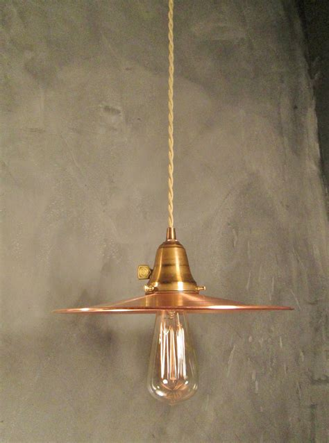 Industrial Pendant Light With Flat Copper Shade On Storenvy