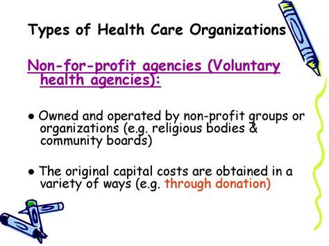 types  health care organizations  organization