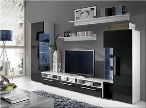 Schwarz Weiß Wohnzimmer : hochglanz wohnwand roma italienisches design mit led ~ Orissabook.com Haus und Dekorationen