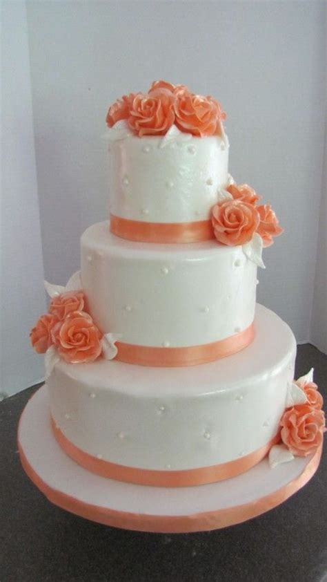 17 Best Images About Peach And White Wedding Cake Ideas On