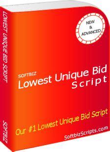Lowest Bid Lowest Unique Bid Script 150 Features Unique Bid