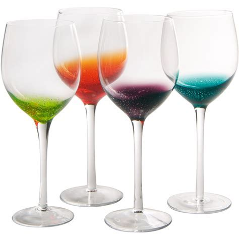 Long Stem Wine Glasses   Fizzy Style (Set of 4) in Glassware