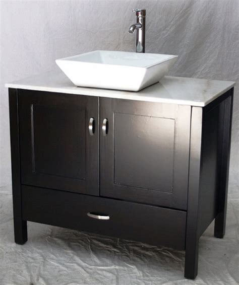 The bathroom is associated with the weekday morning rush, but it doesn't have to be. 36 inch Bathroom Vanity Rectangular Vessel Sink Top Style ...