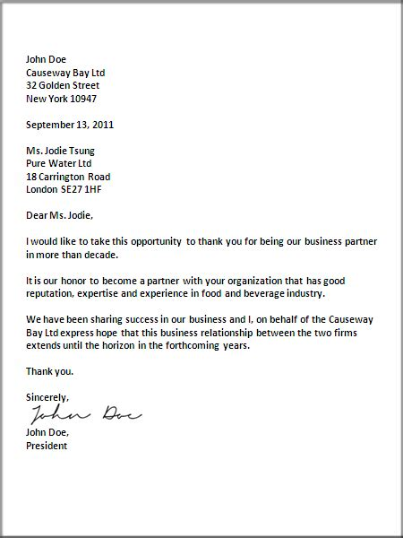 business letter writing format sample letter