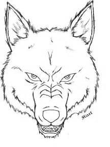 Wolf Head Outline Drawing