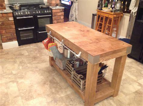 Large English Oak Butchers Block Kitchen Island Table