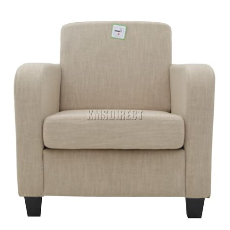 Lounge Armchair by Foxhunter Linen Fabric Tub Chair Armchair Dining Living