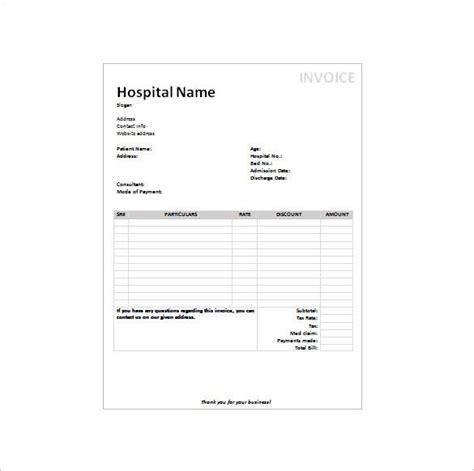 medical receipt templates word  google docs