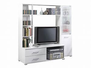 Etagere Pour Tv : meuble tv salt mdf blanc perle 2 tiroirs 5 tag res 2 niches 2 portes 54765 ~ Teatrodelosmanantiales.com Idées de Décoration