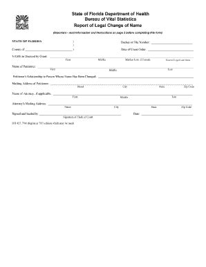 social security name change form florida fillable online dh427 report of legal name change