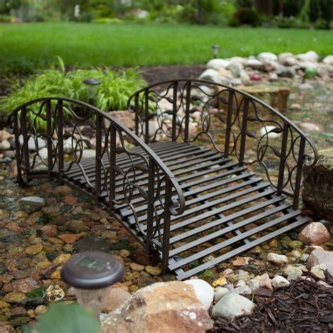 steel garden bridge 4 foot steel frame metal garden bridge in rustic weathered black finish fastfurnishings com