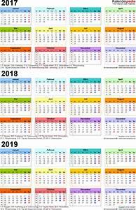 Jahreskalender 2018 2019 : dreijahreskalender 2017 2018 2019 als pdf vorlagen ~ Jslefanu.com Haus und Dekorationen