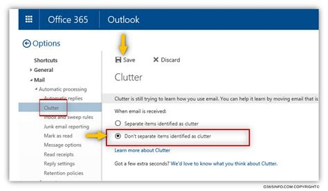 Office 365 Outlook How To Use by Disable Clutter By Using Owa Client O365info