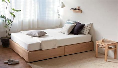 muji oak storage bed fabric   life uk interior