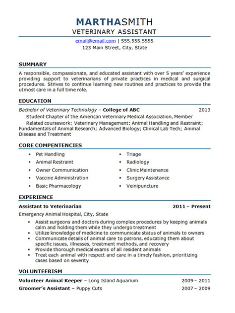 veterinary assistant resume  animal hospital