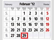 Leap year calendar with red mark on 29 February Stock