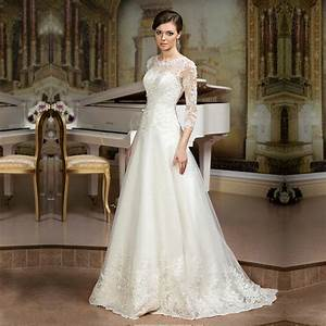hot lace 3 4 sleeve lace wedding dress cheap wedding With cheap wedding dresses with sleeves