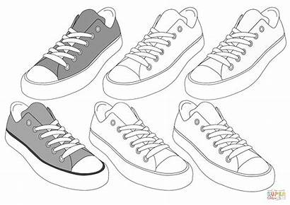 Coloring Sneakers Sneaker Pages Football Printable Shoes