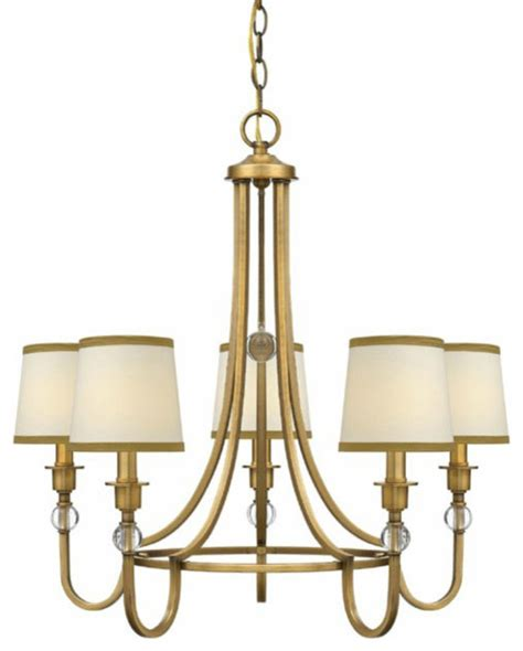 traditional gold and fabric shades chandelier